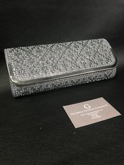 Stunning Alex Max® pewter square diamond clutch / shoulder bag