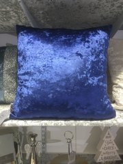 Midnight blue velvet plain scatter cushion