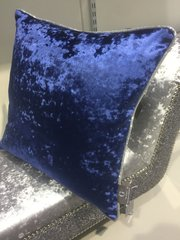 stunning midnight blue velvet with disco silver glitter pipe scatter cushion