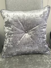 Stunning glitter button and crushed velvet glitter pipe scatter cushion - Colour options