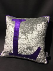 Stunning Silver crushed velvet with purple glitter alphabet scatter cushion