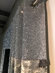 Stunning Silver glitter - silver senso glitter top eyelet curtains - size options