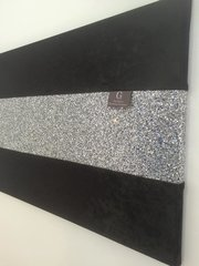 Luxury Black crushed velvet with stunning silver glitter wall art Large