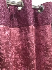 Luxury Pink glitter top - pink velvet eyelet curtain/curtains - size options