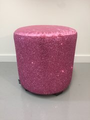 Stunning pink crushed velvet with pink glitter drum stool