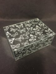 Beautiful silver glitter and mirror butterfly jewellery box - small