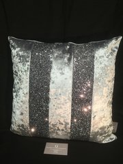 Stunning Ava gunmetal grey velvet-Gunmetal grey glitter scatter cushion