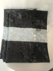Stunning black crushed velvet with silver glitter bed runner