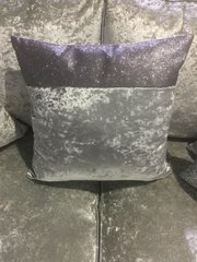 Stunning Top bar gunmetal grey velvet with gunmetal grey glitter scatter cushion