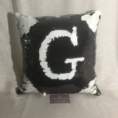 beautiful black and white sequin mermaid cushions