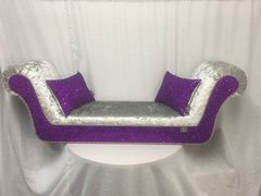 stunning silver crushed velvet with purple glitter double ended chaise
