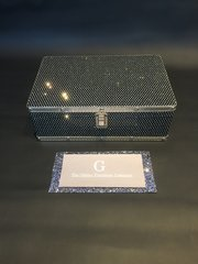 Beautiful black glitter cases medium jewellery box