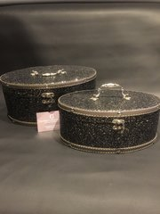 Beautiful oval  midnight sparkle storage boxes/ vanity case - set of 2