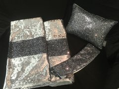 Stunning Grey glitter bedroom set - Bed runner - claira cushion - curtain tiebacks