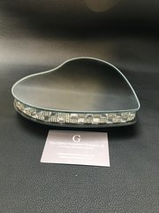Beautiful Heart mirror & crystal candle plate/ display plate - small