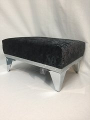 Stunning Black crushed velvet with disco glitter footstool - small