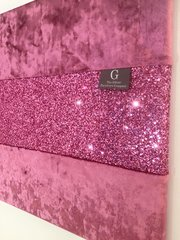 Luxury Pink crushed velvet with Stunning Pink Glitter wall art Large