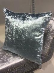 Beautiful Cambridge blue crushed velvet with silver disco glitter pipe scatter cushion