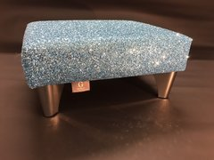 Luxury Baby Blue Sparkle Glitter Footstool Small