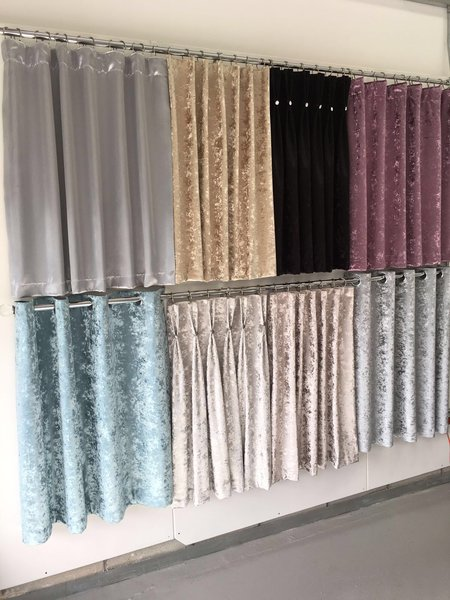 crushed velvet pencil pleat curtains | The Glitter Furniture Company®