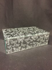 Beautiful mirror and silver glitter butterfly jewellery box - medium