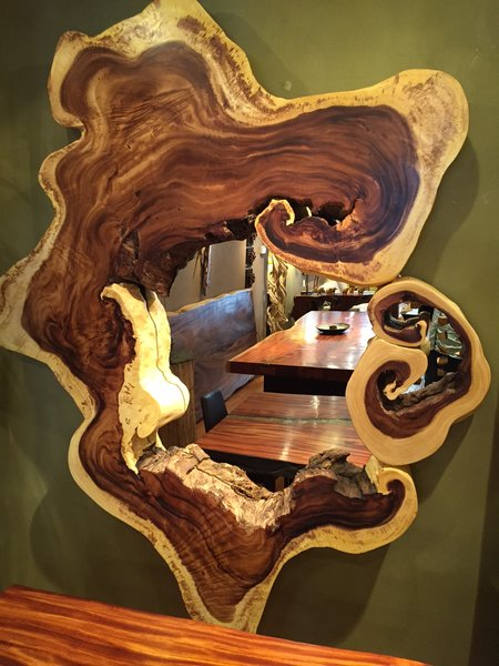 Large Monkey Wood Mirror Frame Sequoia Santa Fe