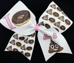 I Do Not (donut) Give A Poop Emoji Cheer Bow