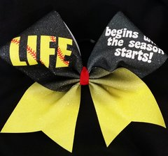 Life Begins When The Season Starts Softball Bow