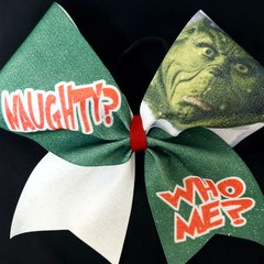 Nauty? Who Me? Grinch Cheer Bow
