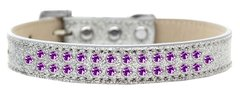 BLING DOG COLLARS: Dog Collar Various Sizes & Colors  by Mirage - TWO ROWS PURPLE CRYSTALS/ ICE CREAM COLLAR