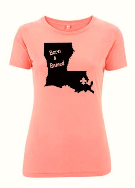 Louisiana state born raised t shirt new orleans then for Shirt printing new orleans
