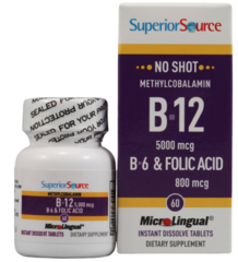 B12 Methylcobalamin 5000 mcg + B6 and Folic Acid (60 sublingual tabs) $25.99