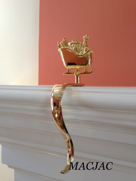 Brass santa 39 s sleigh stocking hook holder macjac llc for Brass stocking holders fireplace