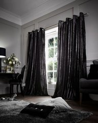 Faux fur black eyelet curtains