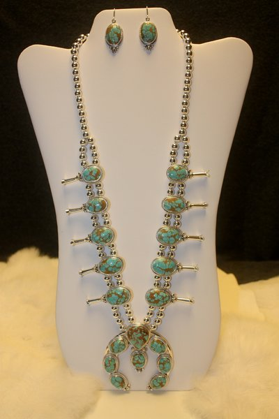 Number 8 Turquoise Squash Blossom Set - N8944