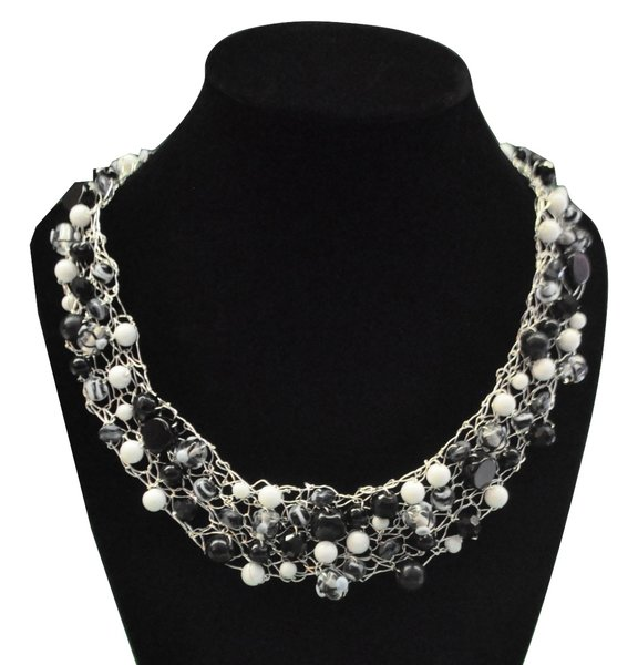 black and white beaded necklace on silver wire jackie g