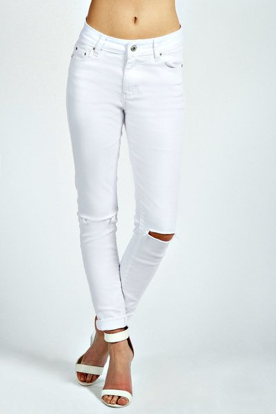 Tractr Brand Women's White Destroyed Skinny Jeans | Envy of All