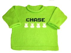 Custom Made Baby Name Sweater with Bunny Motif