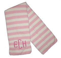 Striped Scarf With Monogram