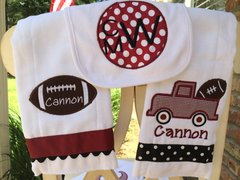 3 Pc. Personalized Football Baby Gift Set