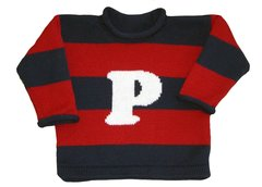 Rugby Stripes Letterman Initial Pullover