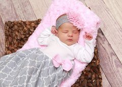 Custom Baby Girl Layette Gown and Head Bow Layette Set
