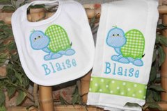 Custom Made Turtle Bib And Burp Set Personalized