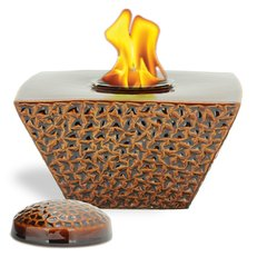 "8"" Brown Taper FlamePot with Lid"