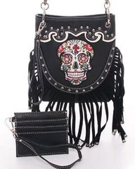 Black Sugar Skull Fringe Cross Body Messenger Bag Purse Studded