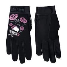 Ladys Rose and Cross Bone Mechanic Gloves