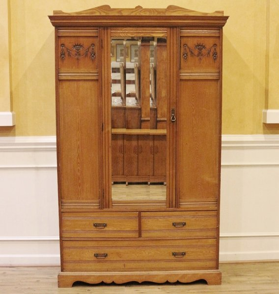 antique wardrobe armoire english late victorian carved elm streets of london antiques. Black Bedroom Furniture Sets. Home Design Ideas