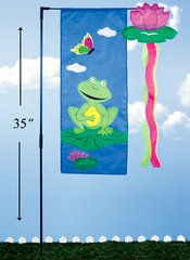 Spring Garden Frog Flag with Pole (12 PCS SET)