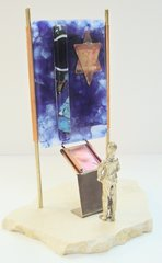 Bar Mitzvah Sculpture Copper/Stained Glass With Sandstone Base,9.5 In H X 6.5 In W X 6.5 In D, By Gary Rosenthal Collection, Personalization Available