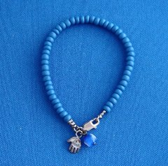 Beaded Blue Bracelet W/Sterling Silver Chamsah/Eye Bead